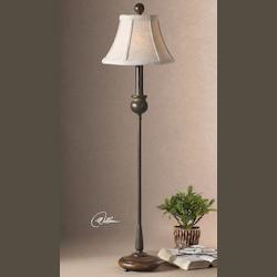 Rustic Olive Bronze Metal Buffet Lamp with Wood Base from the Susan Collection