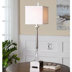 Polished Nickel With Glass Venarotta 1 Light Buffet Lamp