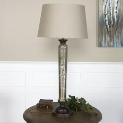 Antiqued Mercury Glass With Solid Mango Wood Cassini 1 Light Buffet Lamp
