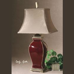 Burgundy Ceramic With Bronze Metal Detail Rory Table Lamp
