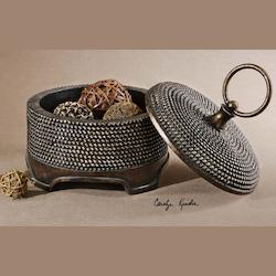 Brown Over Silver Beaded Details With A Dark Chestnut Brown Foot Aubriana Box With Ring Style Handle And Beaded Accent
