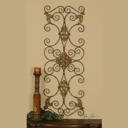 Distressed Aged Black Over Rust Brown Fayola Scrolls Hand Forged Metal Wall Art