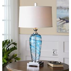 Clear Blue With Polished Nickel Andreas 1 Light Table Lamp