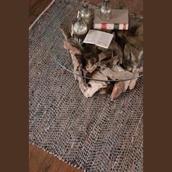 Natural 5 x 8 Tobais Hand Loomed Leather Rug