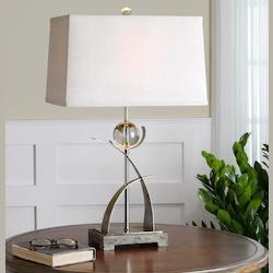 Antiqued Silver With Crystal And Burnished Concrete Cortlandt 1 Light Table Lamp