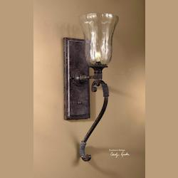 Antique Saddle Single Light Wall Sconce from the Galeana Collection