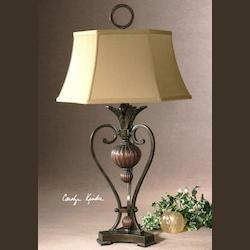 Golden Bronze Metal With Antique Wood Tone Details Andra Table Lamp