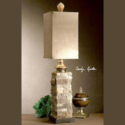 Ivory And Brown With Cast Aluminum Accents Andean Buffet Lamp