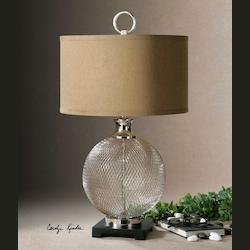 Nickel Catalan Table Lamp with Cylinder Shade
