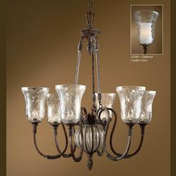 Antique Saddle 6 Light Single Tier Chandelier fro the Galeana Collection