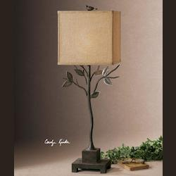 Bronze Arbre Buffet Lamp with Square Shade