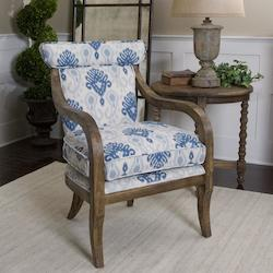 Indigo And Cream With Carved Oak Kaiden Armchair