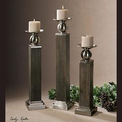 Wood Hestia Brushed Aluminum Candle Holders - Beige Candles Included - Set of 3