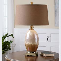 Iridescent Ivory And Rust Brown With Antiqued Gold Eadric 1 Light Table Lamp