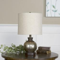 Antiqued Mercury Glass With Aged Mango Wood Arago 1 Light Table Lamp