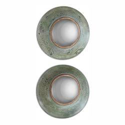 Distressed Aged Green With Antiqued Gold Forbell Rounds Aged Off Center Rounded Mirrors, Set of Two
