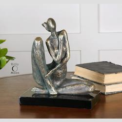 Distressed Silver Champagne with Dark Gray Glaze Ayala Metal Human Sculpture