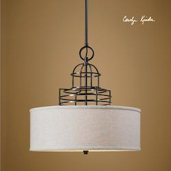 Beige Linen With Weathered Bronze Cupola 3 Light Drum Pendant
