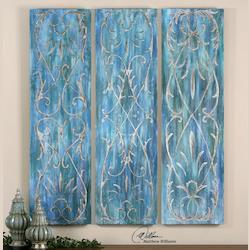 Artwork Reproduction French Quarter Trellis Panel Abstract Wall Art, Set Of Three