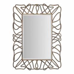 Antiqued Gold Plated With Light Gray Halsey Metal Wisp Mirror