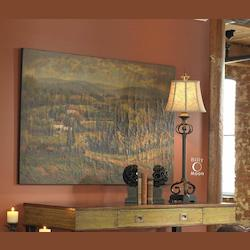 Multi Scenic Vista Hand Painted Crackled Canvas Wall Art