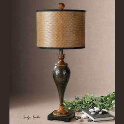 Oil Rubbed Bronze Javini Table Lamp with Cylinder Shade