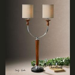 Distressed Wood And Polished Nickel Pendleton Table Lamp with Cylinder Shade