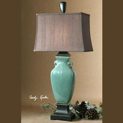 Crackled Turquoise With Oil Rubbed Bronze Details Hastin Table Lamp