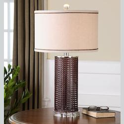 Rust Chocolate With Polished Nickel Arminius 1 Light Table Lamp