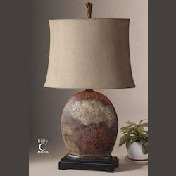 Distressed Rusty Brown / Aged Ivory Oval Semi-Drum Shade Table Lamp from the Yunu Collection
