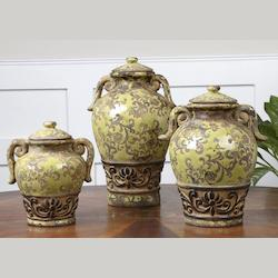 Distressed Crackled Green Gian Containers