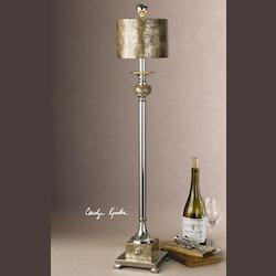 Silver Plated Metal With Real Roasted, Mother Of Pearl Accents. Pearl Contemporary Single Light Buffet Lamp