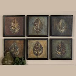 Brown, Rust, Blue New Leaf Panel Set of 6 Semi-Abstract Leaf Prints