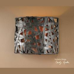 Aged Black Single Light Wall Sconce from the Alita Collection
