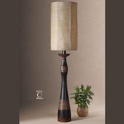 Aged Black / Copper Bronze / Light Gray Glaze Buffet Lamp with Tall Round Drum Shade from the Dafina Collection