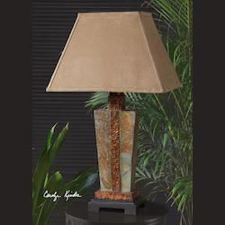 Hand Carved Slate With Hammered Copper Details Slate Accent Lamp with Copper Accent