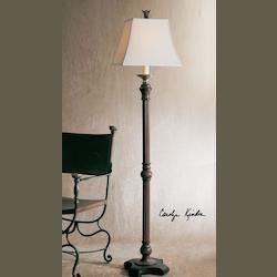 Distressed Wood Tone With Dark Gray Glaze And Antiqued Cast Aluminum Accent Nathan Floor Lamp