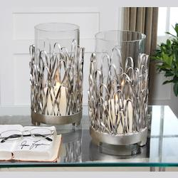 Silver Finish Corbis Candle Holders