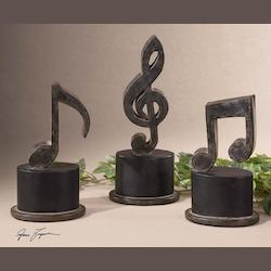Aged Black Music Notes Set of 3