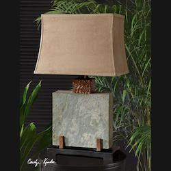 Hand Carved Slate With Hammered Copper Details Slate Square Table Lamp