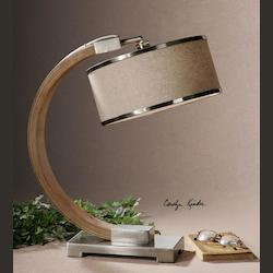 Wood And Chrome Metauro Table Lamp with Drum Shade