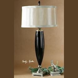 Black Mouth Blown Glass, Antique Bronze Metal Detail Garvey Table Lamp