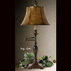 Distressed Antique Bronze Romina Swing Arm Table Lamp