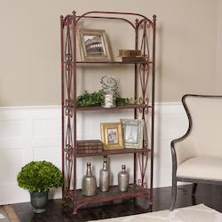 Red Crackle With Oxidized Black Teyona Metal Etagere