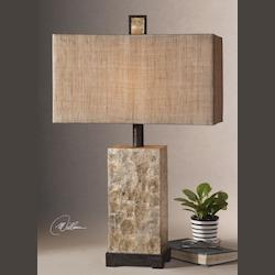 Antiqued Mother Of Pearl Shell / Rustic Dark Bronze Table Lamp with Shell Body from the Rustic Pearl Collection