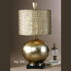 Glass Body With An Antiqued Silver Leaf Finish On The Inside Julian Table Lamp