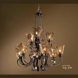 Oil Rubbed Bronze 9 Light 2 Tier Chandelier with Handmade Glass Shades from the Vetraio Collection