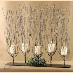 Dark Brown Fedora in.Treesin. Candleholder with Clear Bead Accents