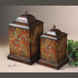 Multi Set of 2 Colorful Flowers Metal Canisters