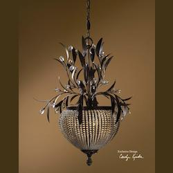 Golden Bronze 3 Light Chandelier from the Cristal De Lisbon Collection